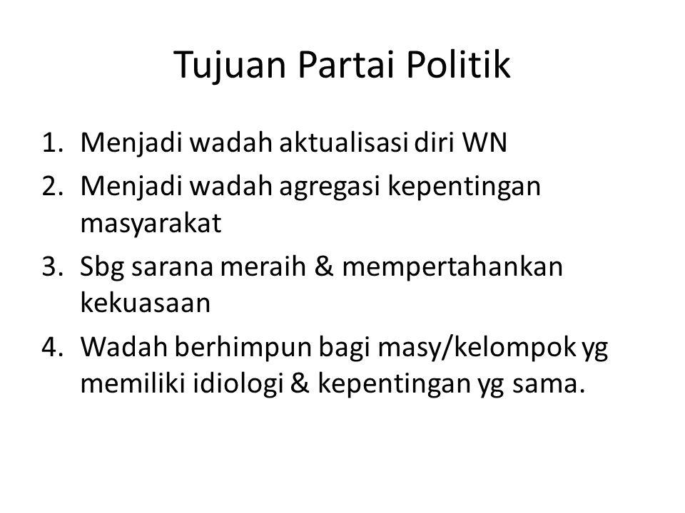 Tujuan Partai Politik 1.Menjadi wadah aktualisasi diri WN 2.Menjadi wadah agregasi kepentingan masyarakat 3.Sbg sarana meraih & mempertahankan kekuasa