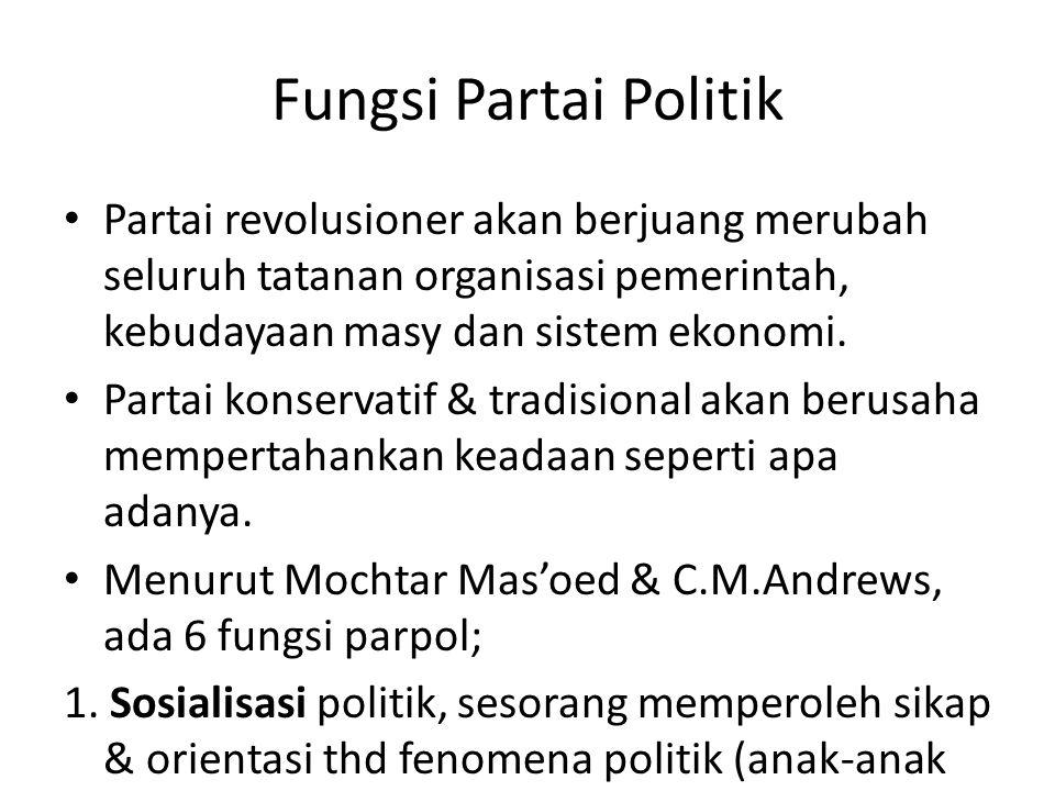 Fungsi Partai Politik Partai revolusioner akan berjuang merubah seluruh tatanan organisasi pemerintah, kebudayaan masy dan sistem ekonomi. Partai kons