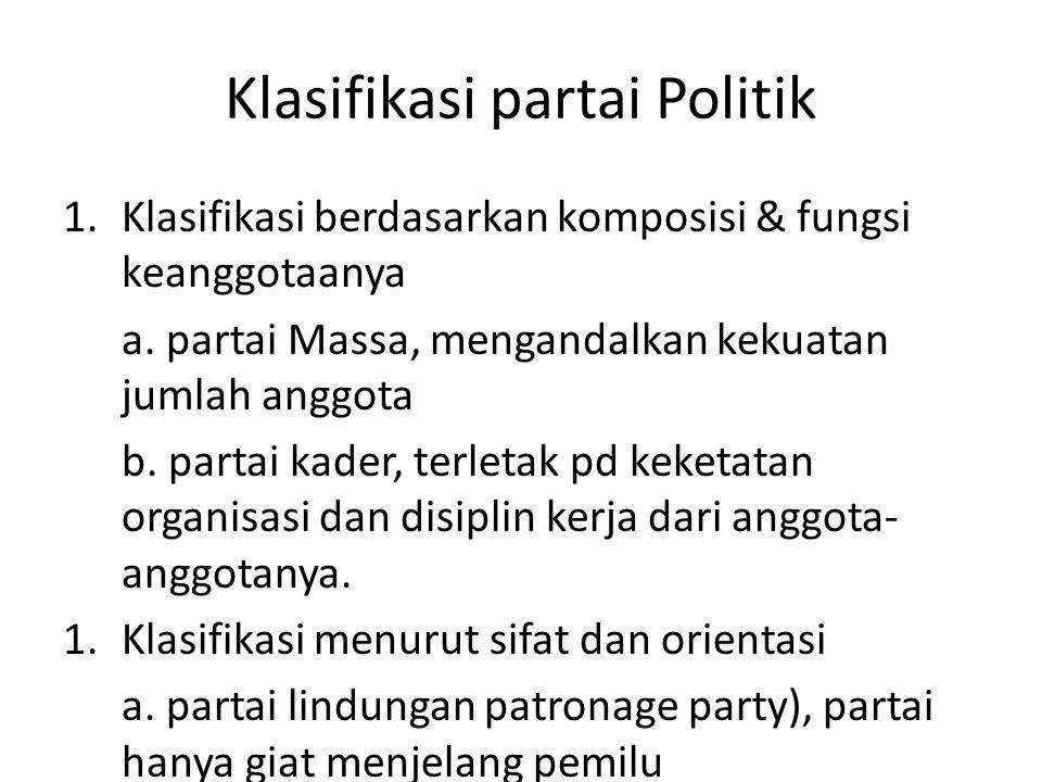 Klasifikasi partai Politik 1.Klasifikasi berdasarkan komposisi & fungsi keanggotaanya a. partai Massa, mengandalkan kekuatan jumlah anggota b. partai