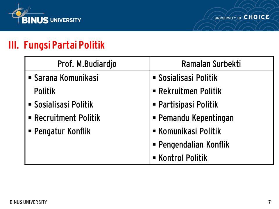 BINUS UNIVERSITY7 III.Fungsi Partai Politik Prof.