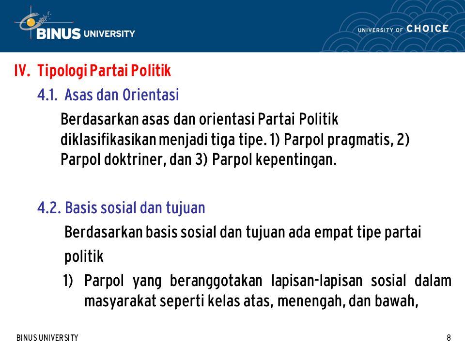 BINUS UNIVERSITY8 IV.Tipologi Partai Politik 4.1.