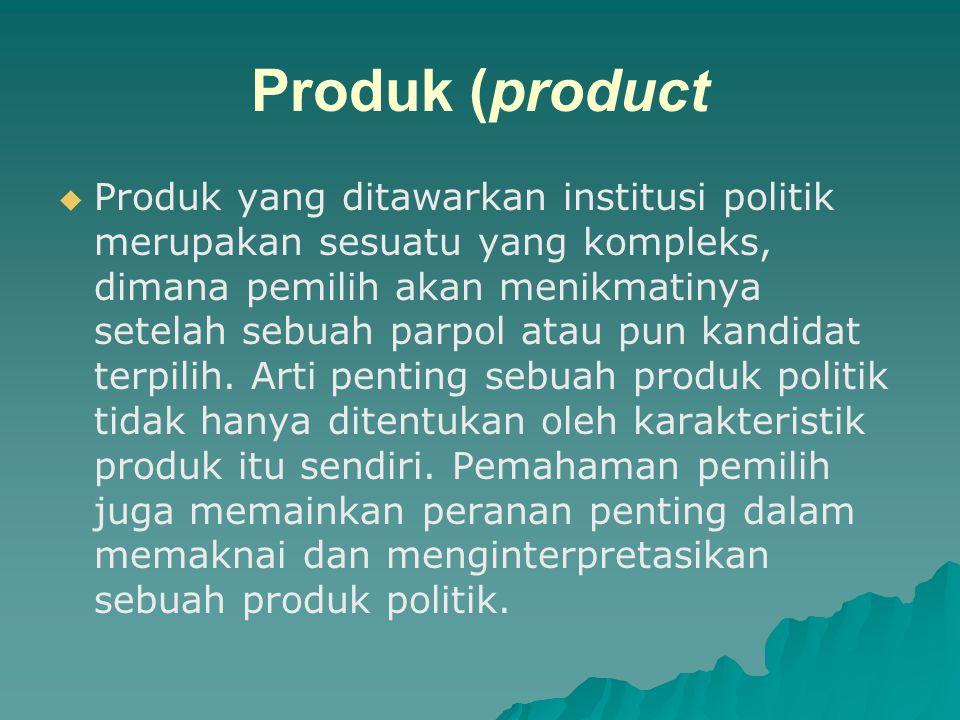 PROSES MARKETING POLITIK   Proses marketing politik secara umum meliputi   produk,   promosi,   price (harga),   'place' dan segmen (4Ps)..