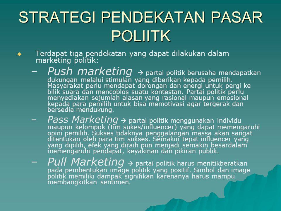 STRATEGI PENDEKATAN PASAR POLIITK   Terdapat tiga pendekatan yang dapat dilakukan dalam marketing politik: – –Push marketing  partai politik berusaha mendapatkan dukungan melalui stimulan yang diberikan kepada pemilih.