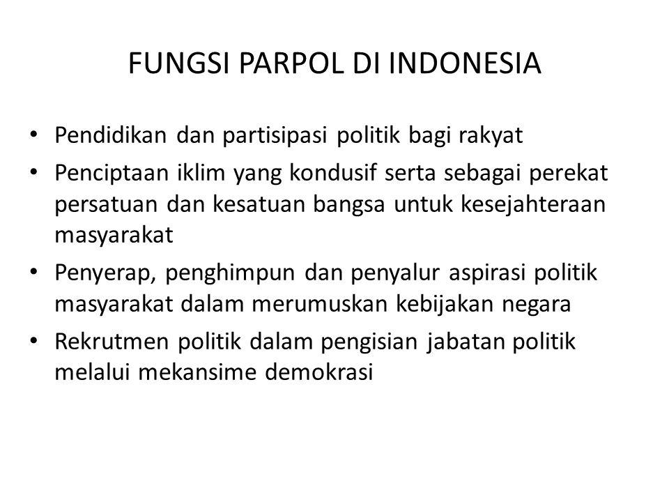 FUNGSI PARPOL DI INDONESIA Pendidikan dan partisipasi politik bagi rakyat Penciptaan iklim yang kondusif serta sebagai perekat persatuan dan kesatuan