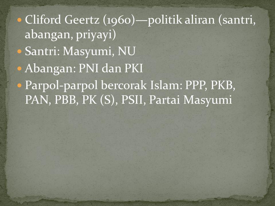 Cliford Geertz (1960)—politik aliran (santri, abangan, priyayi) Santri: Masyumi, NU Abangan: PNI dan PKI Parpol-parpol bercorak Islam: PPP, PKB, PAN,