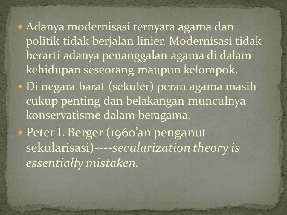 Penguatan Partai Politik Islam di Indonesia (Bahtiar Efendy)----an indicator that for (many) muslims---an perhaps for (many) others political practitioners as well---islam can fungtion as a political resource.