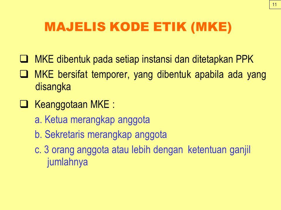 MAJELIS KODE ETIK (MKE)  MKE dibentuk pada setiap instansi dan ditetapkan PPK  MKE bersifat temporer, yang dibentuk apabila ada yang disangka  Keanggotaan MKE : a.