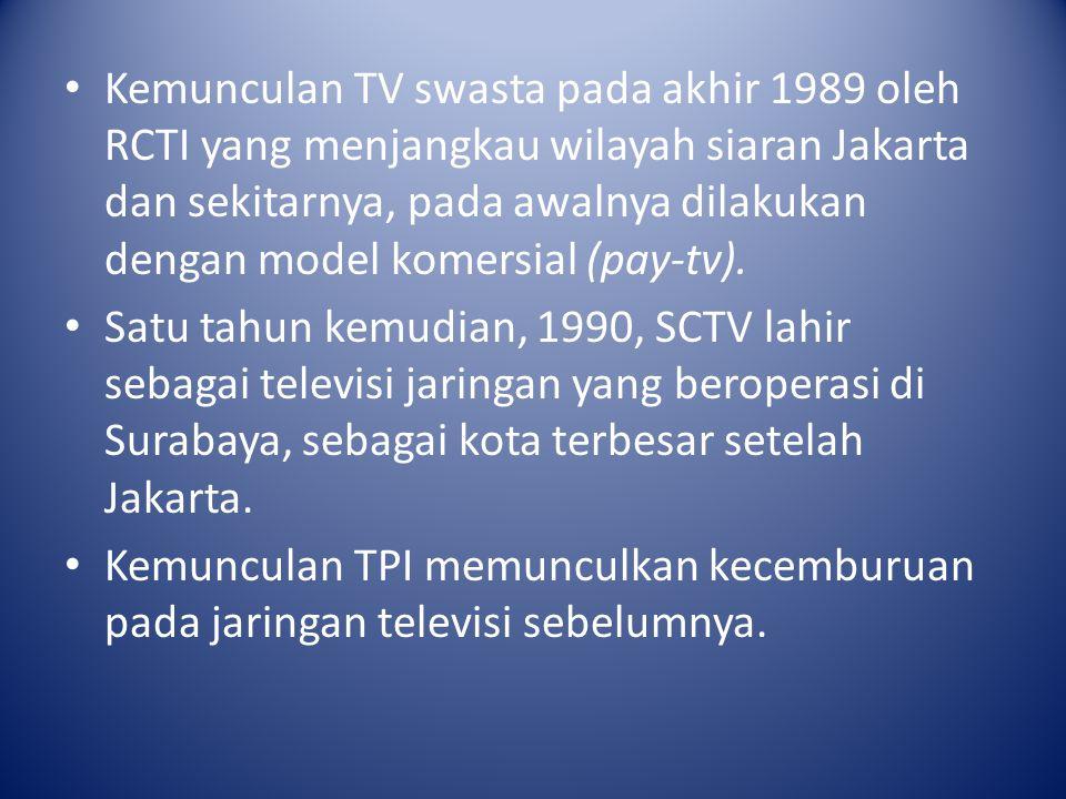 Kemunculan TV swasta pada akhir 1989 oleh RCTI yang menjangkau wilayah siaran Jakarta dan sekitarnya, pada awalnya dilakukan dengan model komersial (p