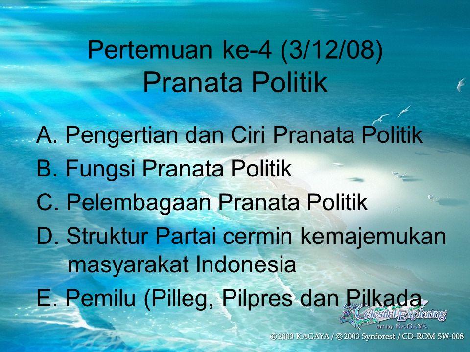 Pertemuan ke-4 (3/12/08) Pranata Politik A. Pengertian dan Ciri Pranata Politik B. Fungsi Pranata Politik C. Pelembagaan Pranata Politik D. Struktur P