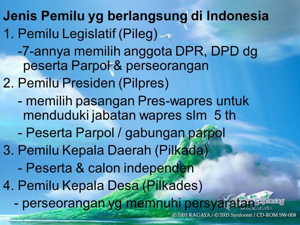 Jenis Pemilu yg berlangsung di Indonesia 1. Pemilu Legislatif (Pileg) -7-annya memilih anggota DPR, DPD dg peserta Parpol & perseorangan 2. Pemilu Pre