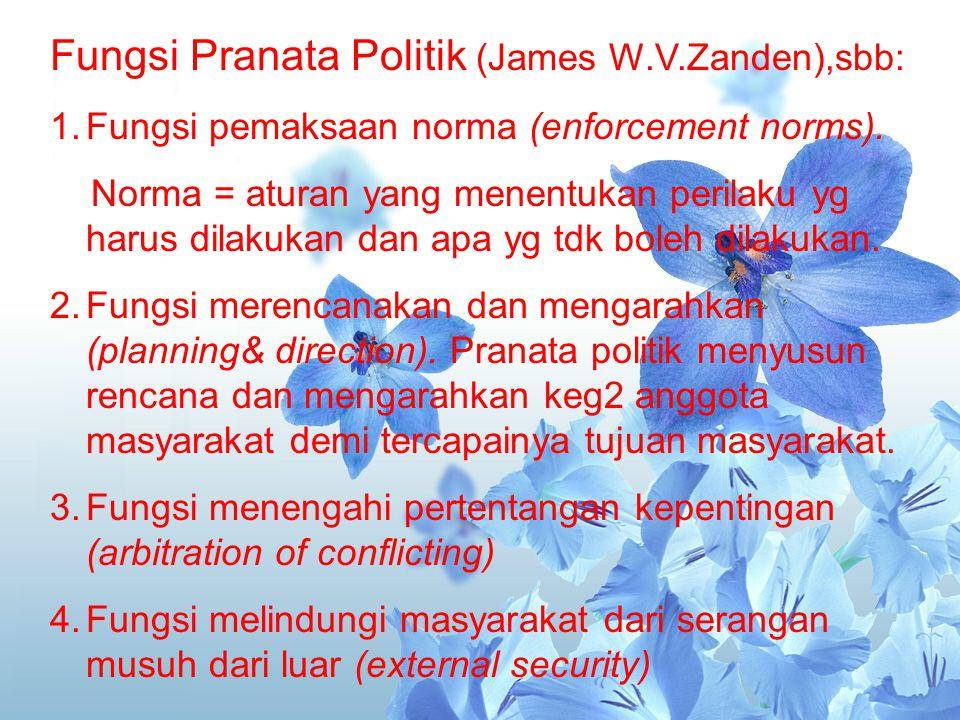 Fungsi Pranata Politik (James W.V.Zanden),sbb: 1.Fungsi pemaksaan norma (enforcement norms). Norma = aturan yang menentukan perilaku yg harus dilakuka