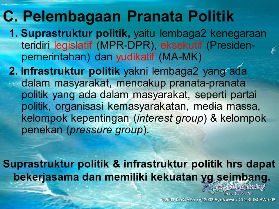 C. Pelembagaan Pranata Politik 1. Suprastruktur politik, yaitu lembaga2 kenegaraan teridiri legislatif (MPR-DPR), eksekutif (Presiden- pemerintahan) d