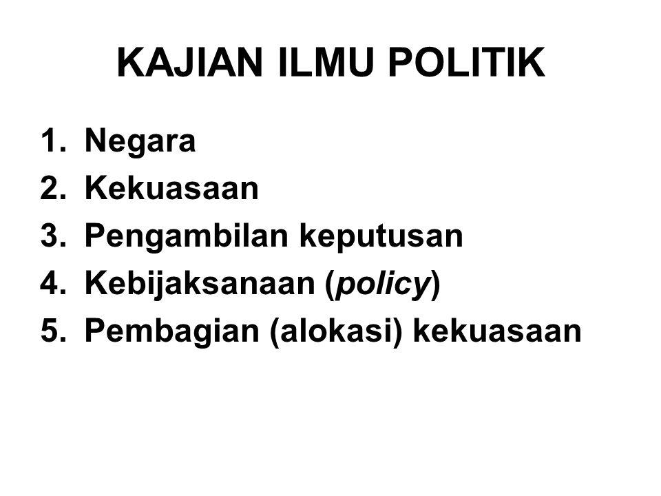 KAJIAN ILMU POLITIK 1.Negara 2.Kekuasaan 3.Pengambilan keputusan 4.Kebijaksanaan (policy) 5.Pembagian (alokasi) kekuasaan