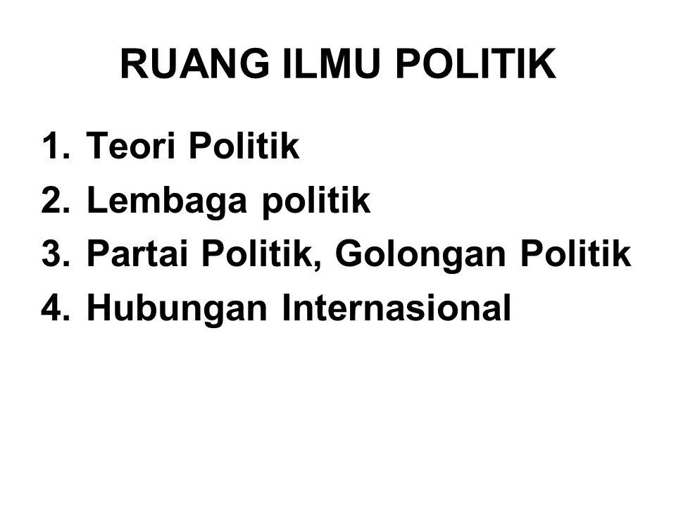 RUANG ILMU POLITIK 1.Teori Politik 2.Lembaga politik 3.Partai Politik, Golongan Politik 4.Hubungan Internasional