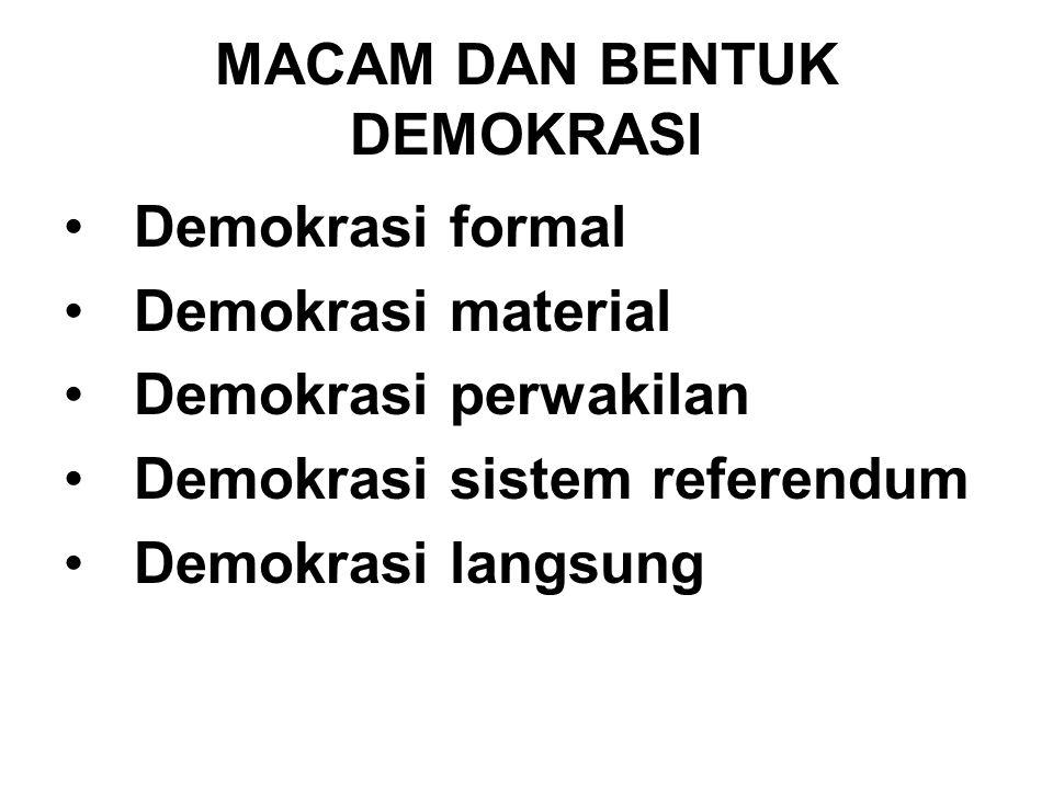 MACAM DAN BENTUK DEMOKRASI Demokrasi formal Demokrasi material Demokrasi perwakilan Demokrasi sistem referendum Demokrasi langsung