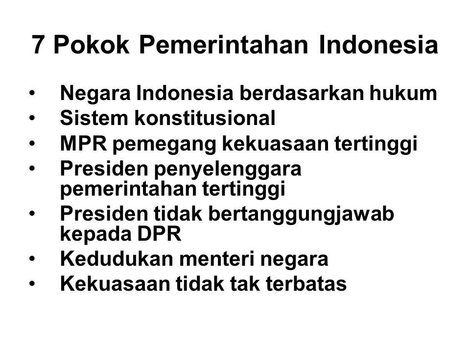 7 Pokok Pemerintahan Indonesia Negara Indonesia berdasarkan hukum Sistem konstitusional MPR pemegang kekuasaan tertinggi Presiden penyelenggara pemeri