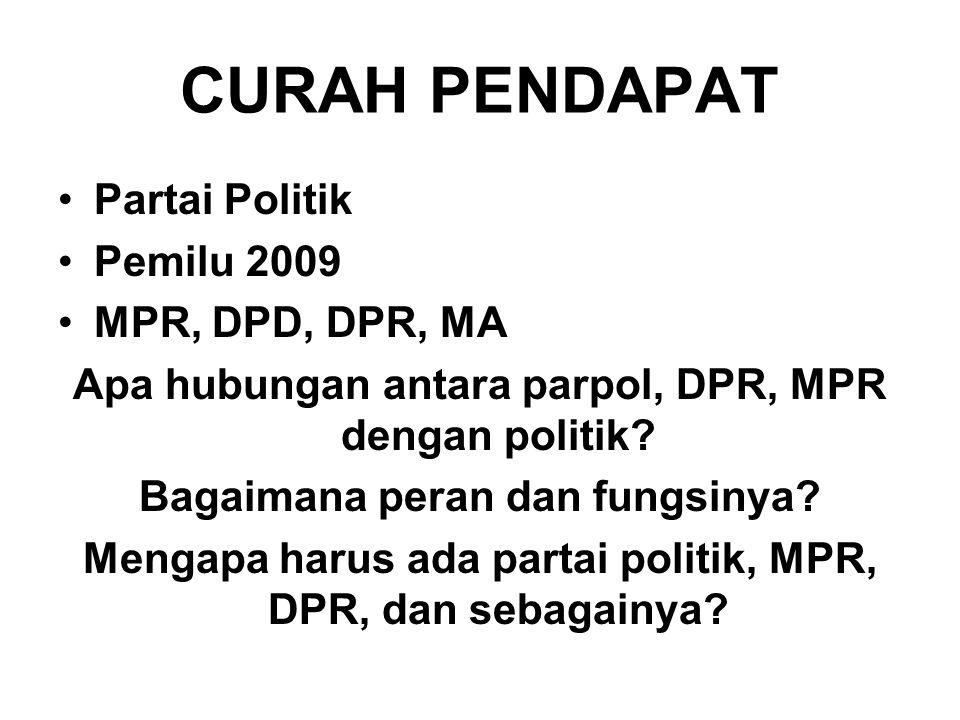 CURAH PENDAPAT Partai Politik Pemilu 2009 MPR, DPD, DPR, MA Apa hubungan antara parpol, DPR, MPR dengan politik? Bagaimana peran dan fungsinya? Mengap