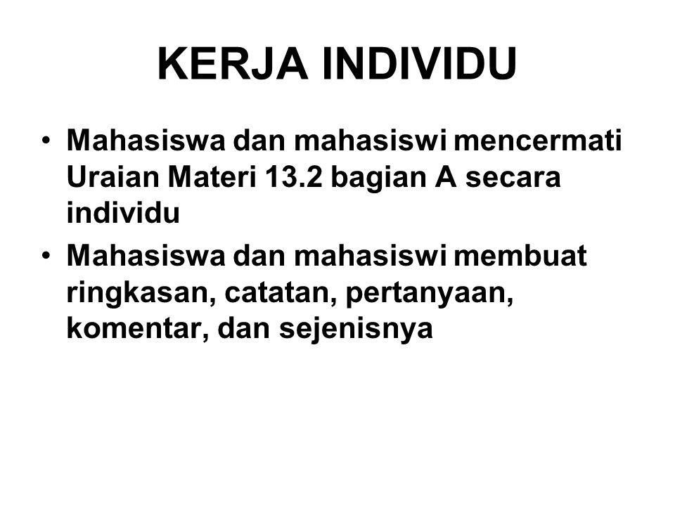 KERJA INDIVIDU Mahasiswa dan mahasiswi mencermati Uraian Materi 13.2 bagian A secara individu Mahasiswa dan mahasiswi membuat ringkasan, catatan, pert