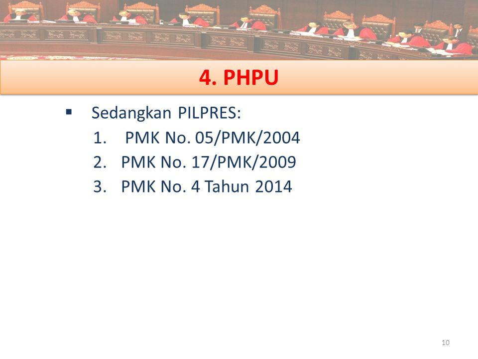 4. PHPU  Sedangkan PILPRES: 1. PMK No. 05/PMK/2004 2.PMK No. 17/PMK/2009 3.PMK No. 4 Tahun 2014 10