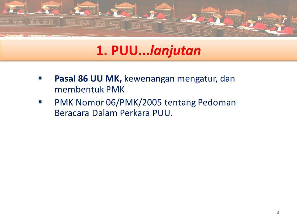 1. PUU...lanjutan  Pasal 86 UU MK, kewenangan mengatur, dan membentuk PMK  PMK Nomor 06/PMK/2005 tentang Pedoman Beracara Dalam Perkara PUU. 4