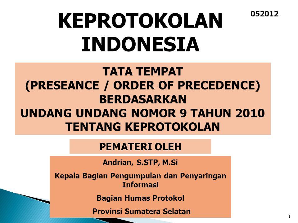 1 PEMATERI OLEH Andrian, S.STP, M.Si Kepala Bagian Pengumpulan dan Penyaringan Informasi Bagian Humas Protokol Provinsi Sumatera Selatan TATA TEMPAT (