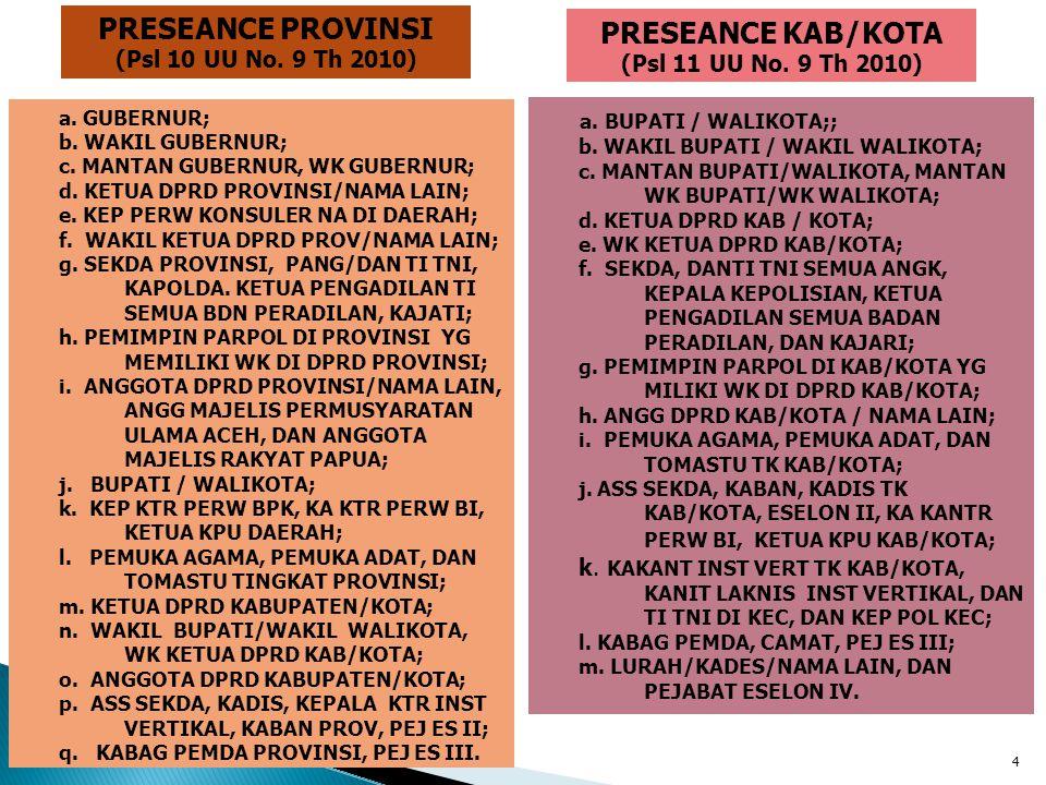 4 PRESEANCE PROVINSI (Psl 10 UU No. 9 Th 2010) PRESEANCE KAB/KOTA (Psl 11 UU No. 9 Th 2010) a. GUBERNUR; b. WAKIL GUBERNUR; c. MANTAN GUBERNUR, WK GUB