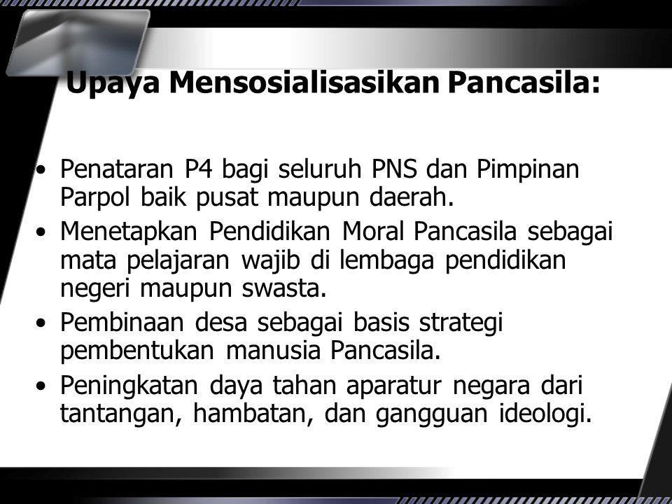 Upaya Mensosialisasikan Pancasila: Penataran P4 bagi seluruh PNS dan Pimpinan Parpol baik pusat maupun daerah. Menetapkan Pendidikan Moral Pancasila s