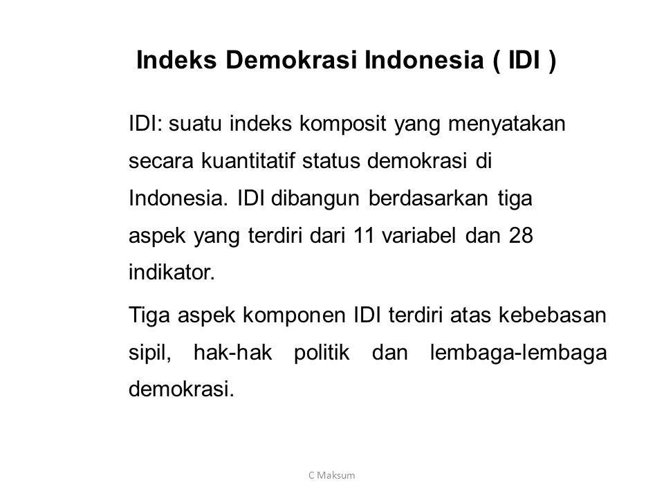 Indeks Demokrasi Indonesia ( IDI ) IDI: suatu indeks komposit yang menyatakan secara kuantitatif status demokrasi di Indonesia. IDI dibangun berdasark