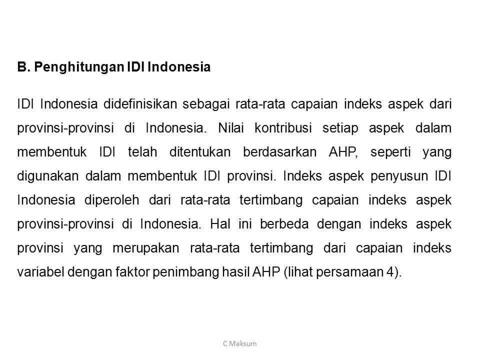 B. Penghitungan IDI Indonesia IDI Indonesia didefinisikan sebagai rata-rata capaian indeks aspek dari provinsi-provinsi di Indonesia. Nilai kontribusi