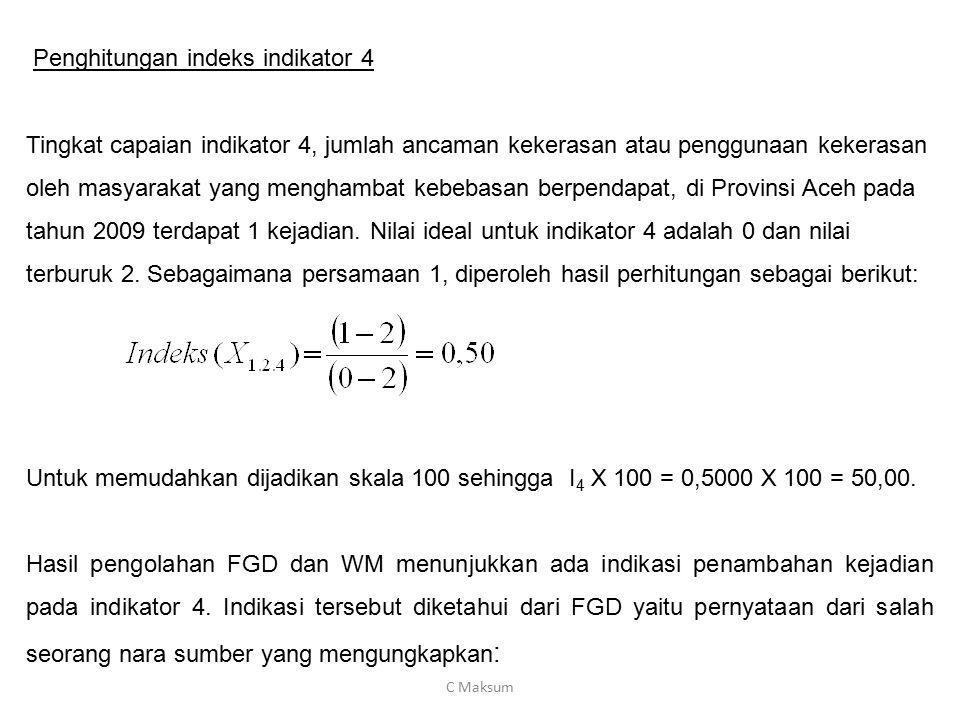 Penghitungan indeks indikator 4 Tingkat capaian indikator 4, jumlah ancaman kekerasan atau penggunaan kekerasan oleh masyarakat yang menghambat kebeba