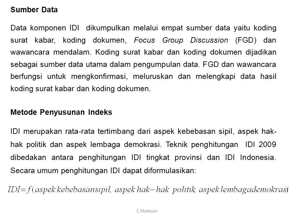 Sumber Data Data komponen IDI dikumpulkan melalui empat sumber data yaitu koding surat kabar, koding dokumen, Focus Group Discussion (FGD) dan wawanca