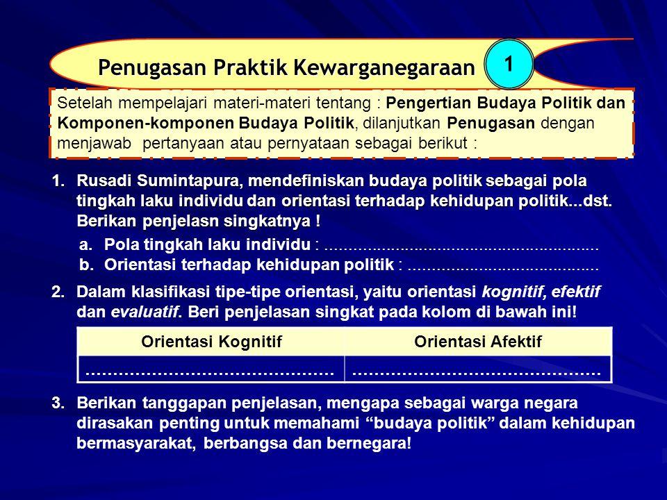 1.Rusadi Sumintapura, mendefiniskan budaya politik sebagai pola tingkah laku individu dan orientasi terhadap kehidupan politik...dst. Berikan penjelas