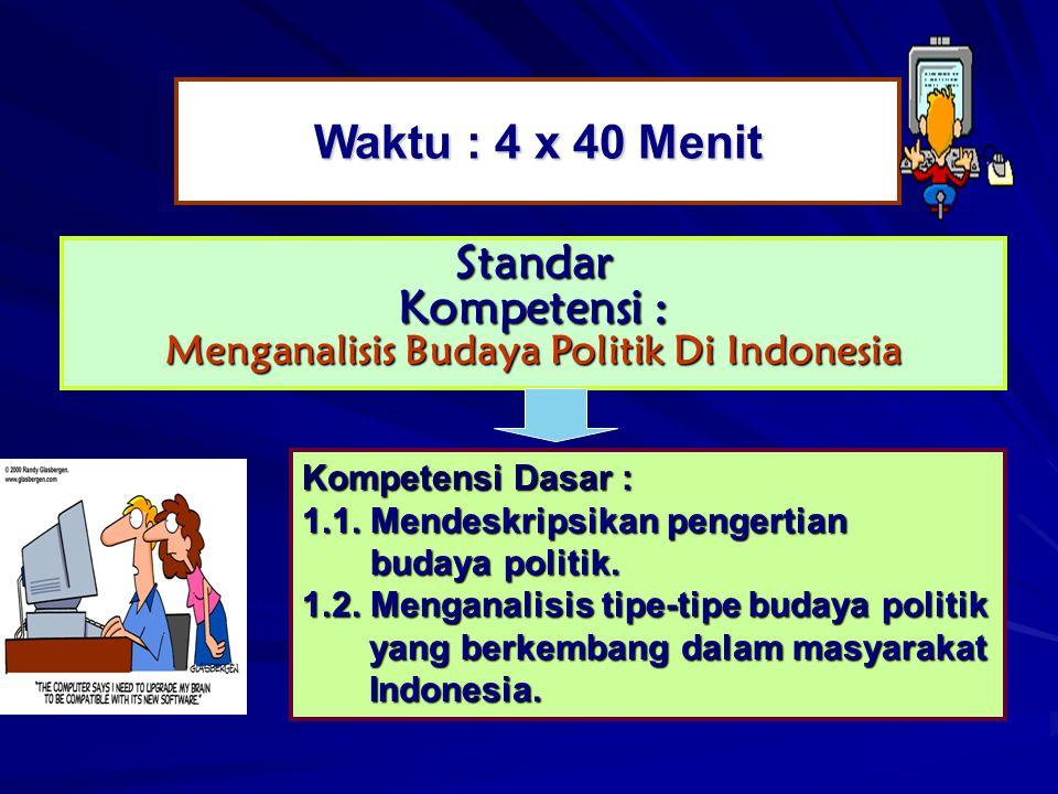 Waktu : 4 x 40 Menit Standar Kompetensi : Menganalisis Budaya Politik Di Indonesia Kompetensi Dasar : 1.1. Mendeskripsikan pengertian budaya politik.