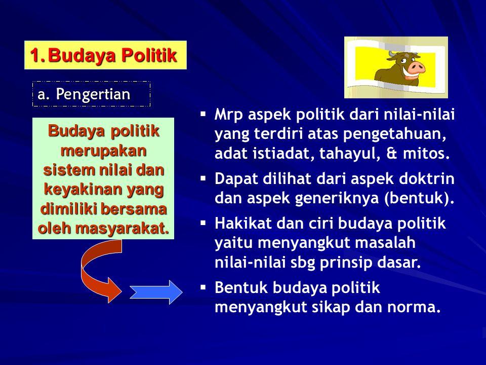 1.Budaya Politik a.Pengertian Budaya politik merupakan sistem nilai dan keyakinan yang dimiliki bersama oleh masyarakat.  Mrp aspek politik dari nila