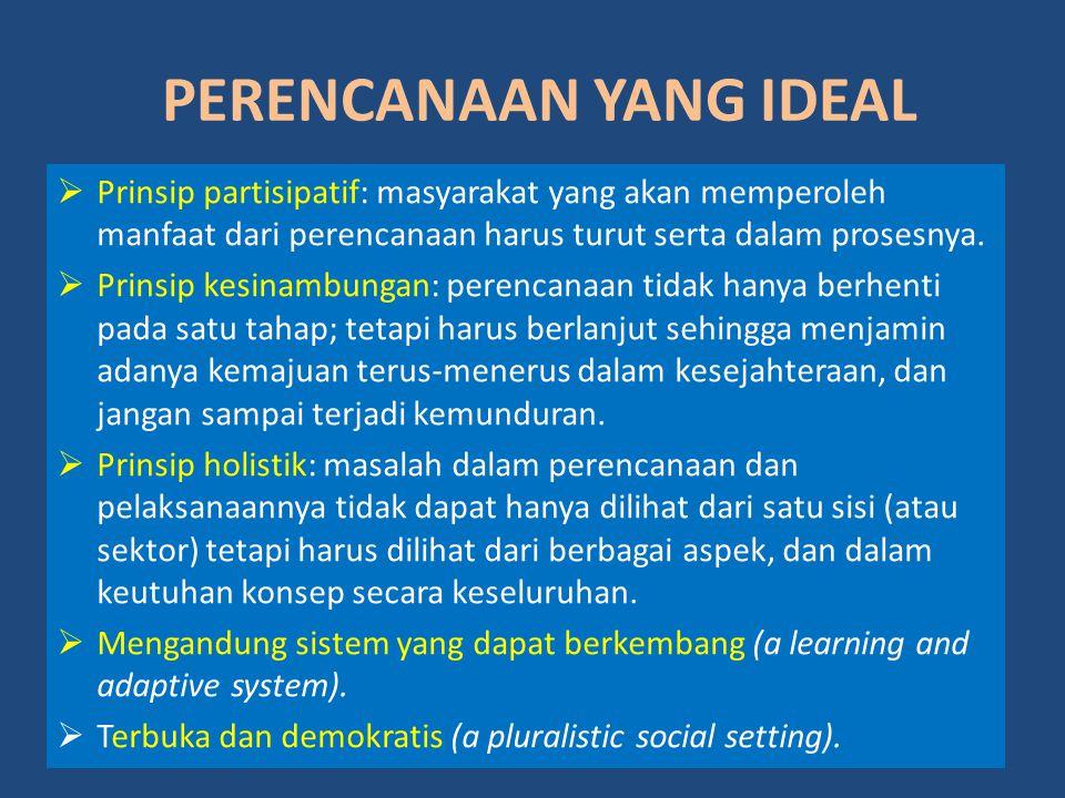 PERENCANAAN YANG IDEAL  Prinsip partisipatif: masyarakat yang akan memperoleh manfaat dari perencanaan harus turut serta dalam prosesnya.  Prinsip k