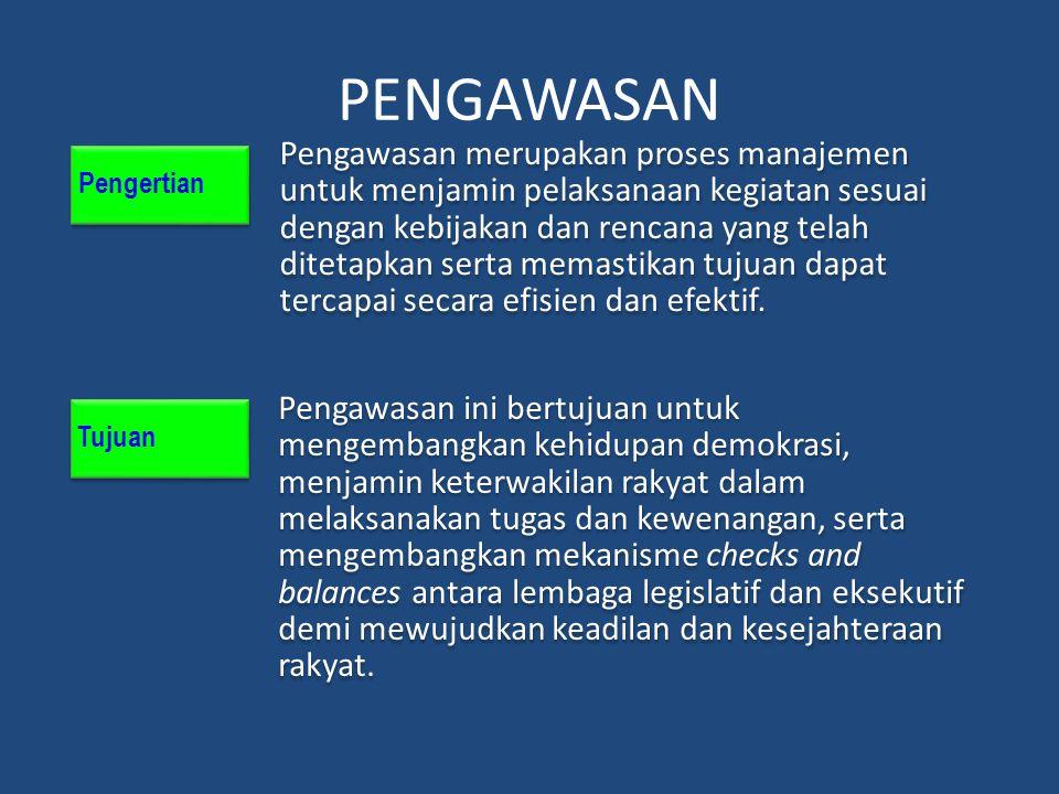 PENGAWASAN Pengertian Pengawasan merupakan proses manajemen untuk menjamin pelaksanaan kegiatan sesuai dengan kebijakan dan rencana yang telah ditetap