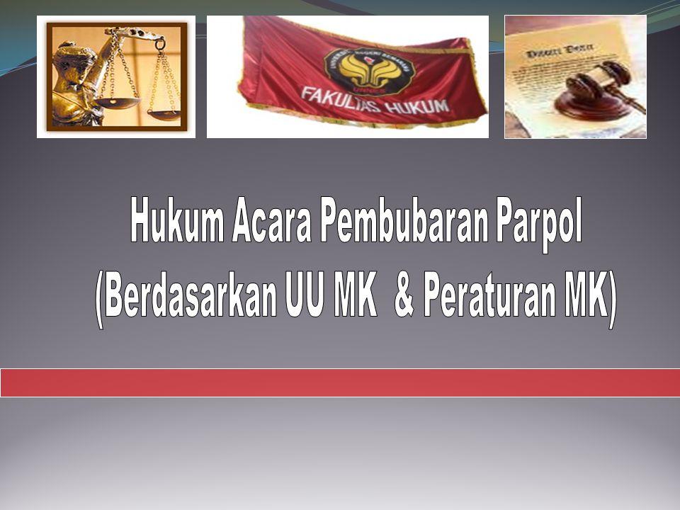 AMAR PUTUSAN MK MENGABULKAN 1) mengabulkan permohonan pemohon; 2) menyatakan membubarkan dan membatalkan status badan hukum partai politik yang dimohonkan pembubaran; 3) memerintahkan kepada Pemerintah untuk: menghapuskan partai politik yang dibubarkan dari daftar pada Pemerintah paling lambat dalam jangka waktu 7 (tujuh) hari kerja sejak putusan Mahkamah diterima; mengumumkan putusan Mahkamah dalam Berita Negara Republik Indonesia paling lambat 14 (empat belas) hari sejak putusan diterima.