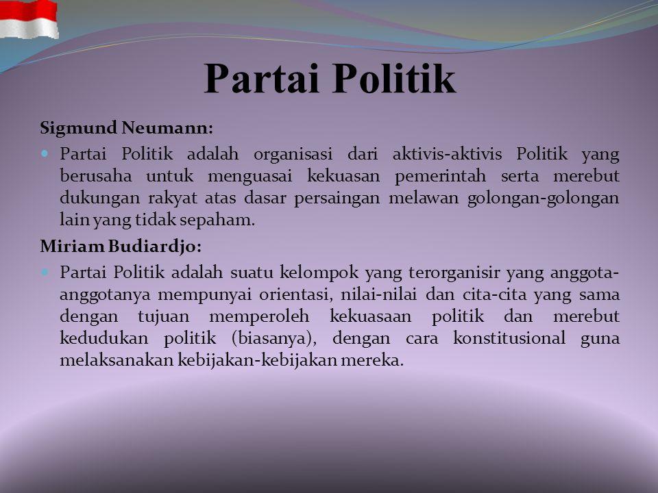 Partai Politik Sigmund Neumann: Partai Politik adalah organisasi dari aktivis-aktivis Politik yang berusaha untuk menguasai kekuasan pemerintah serta merebut dukungan rakyat atas dasar persaingan melawan golongan-golongan lain yang tidak sepaham.