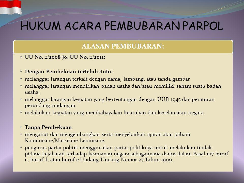 HUKUM ACARA PEMBUBARAN PARPOL PEMOHON: Pemerintah, dapat diwakili oleh Jaksa Agung atau Menteri yang ditunjuk Presiden (PMK 12/2008). ISI PERMOHONAN:
