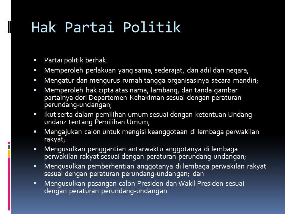 Hak Partai Politik  Partai politik berhak:  Memperoleh perlakuan yang sama, sederajat, dan adil dari negara;  Mengatur dan mengurus rumah tangga or
