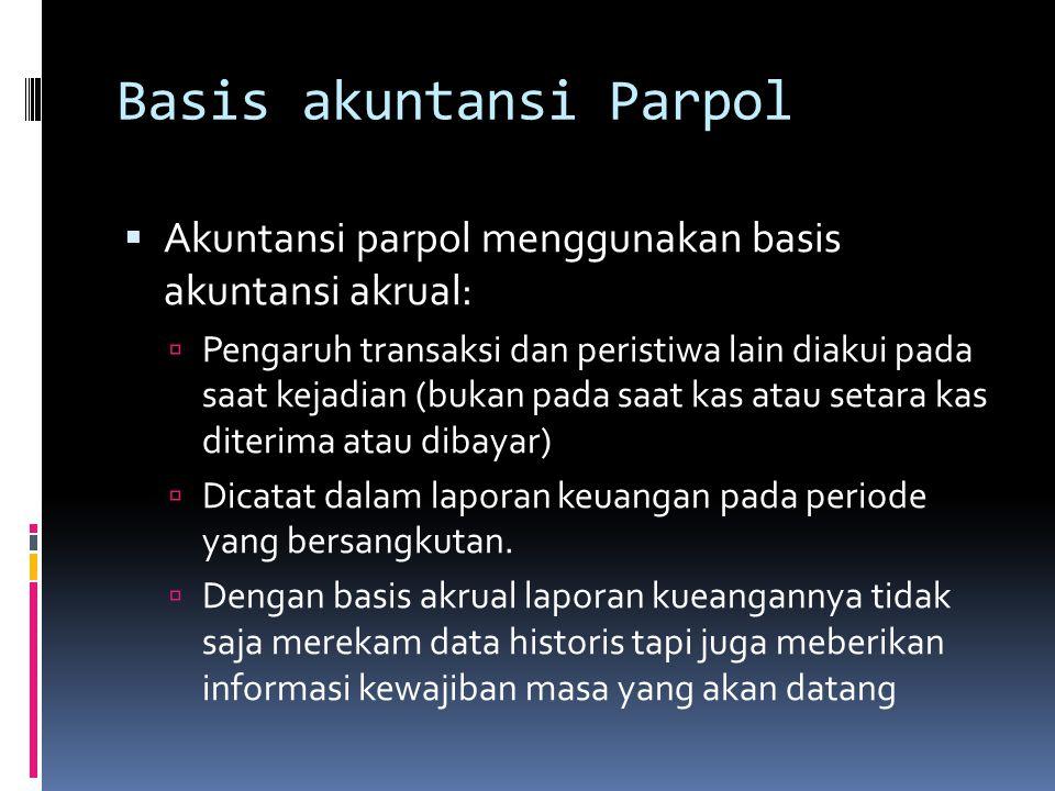 Basis akuntansi Parpol  Akuntansi parpol menggunakan basis akuntansi akrual:  Pengaruh transaksi dan peristiwa lain diakui pada saat kejadian (bukan pada saat kas atau setara kas diterima atau dibayar)  Dicatat dalam laporan keuangan pada periode yang bersangkutan.