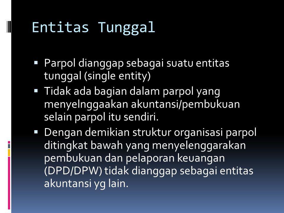 Entitas Tunggal  Parpol dianggap sebagai suatu entitas tunggal (single entity)  Tidak ada bagian dalam parpol yang menyelnggaakan akuntansi/pembukuan selain parpol itu sendiri.