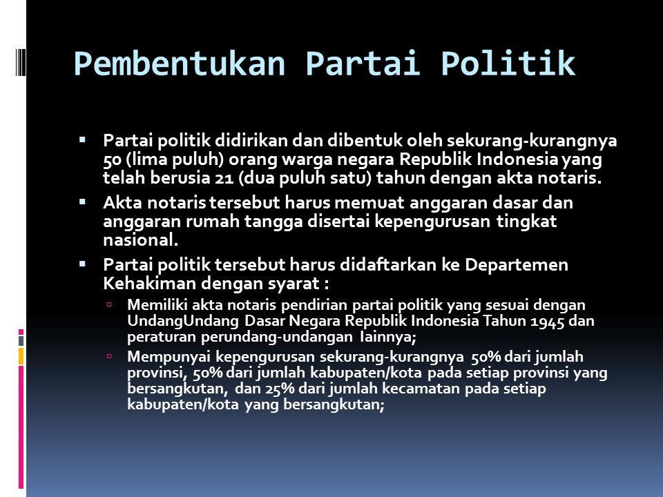 Pembentukan Partai Politik  Partai politik didirikan dan dibentuk oleh sekurang-kurangnya 50 (lima puluh) orang warga negara Republik Indonesia yang telah berusia 21 (dua puluh satu) tahun dengan akta notaris.