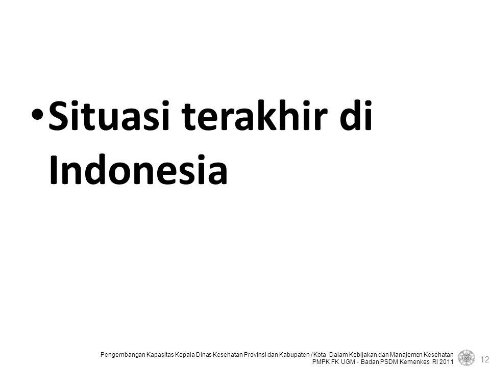 Pengembangan Kapasitas Kepala Dinas Kesehatan Provinsi dan Kabupaten / Kota Dalam Kebijakan dan Manajemen Kesehatan PMPK FK UGM - Badan PSDM Kemenkes RI 2011 Situasi terakhir di Indonesia 12