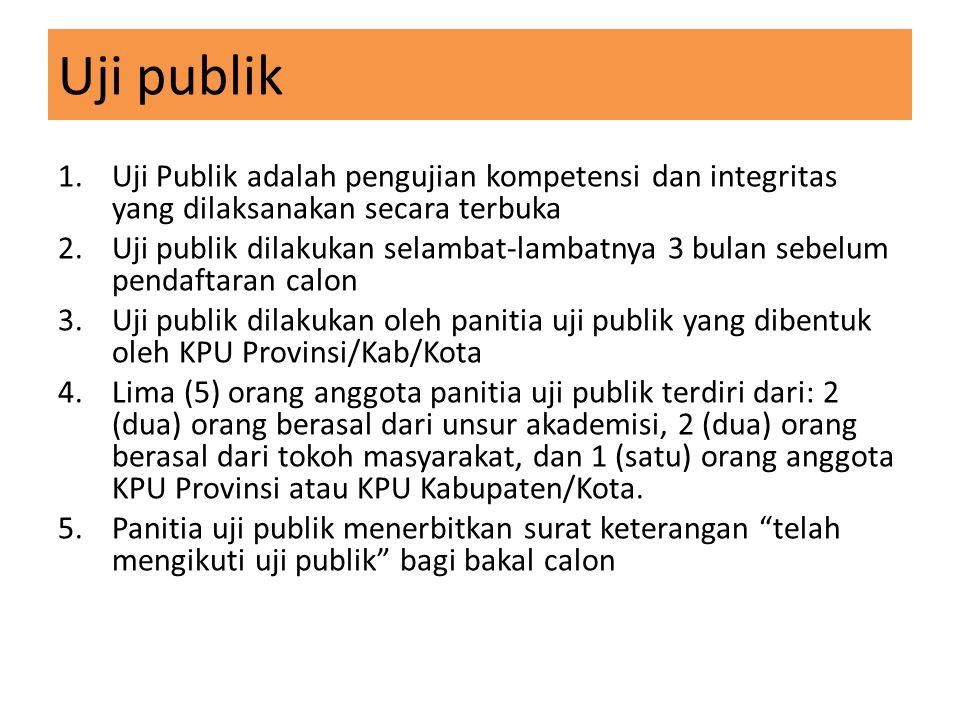 Uji publik 1.Uji Publik adalah pengujian kompetensi dan integritas yang dilaksanakan secara terbuka 2.Uji publik dilakukan selambat-lambatnya 3 bulan
