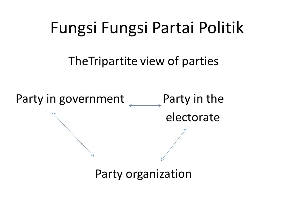 Fungsi Fungsi Partai Politik TheTripartite view of parties Party in governmentParty in the electorate Party organization