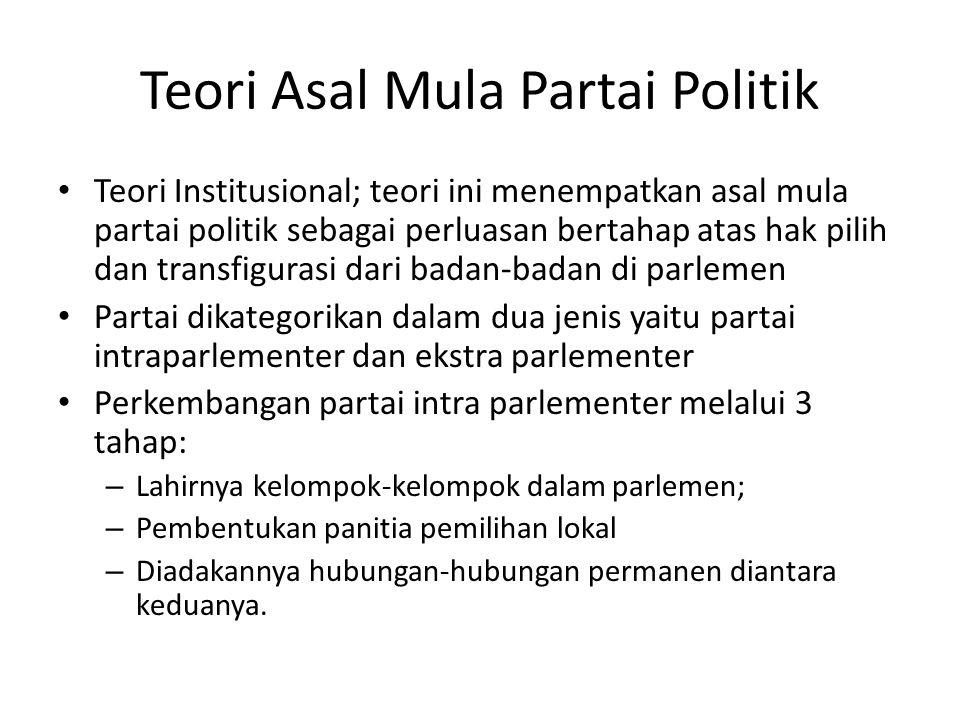 Teori Asal Mula Partai Politik Teori Institusional; teori ini menempatkan asal mula partai politik sebagai perluasan bertahap atas hak pilih dan trans