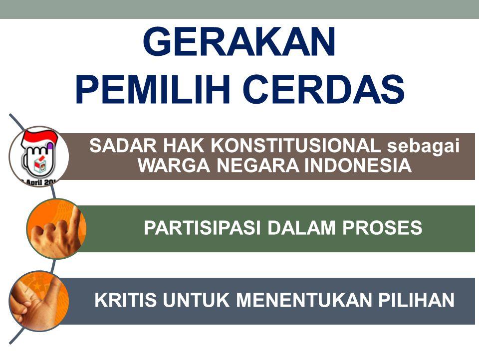 GERAKAN PEMILIH CERDAS SADAR HAK KONSTITUSIONAL sebagai WARGA NEGARA INDONESIA PARTISIPASI DALAM PROSES KRITIS UNTUK MENENTUKAN PILIHAN