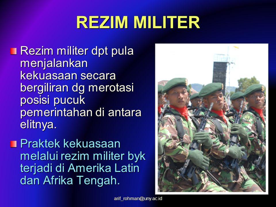 REZIM MILITER Rezim militer umumnya diciptakan melalui perebutan kekuasaan yg disebut 'kudeta'. Kudeta diikuti dg penggantian pemerintahan menjadi pem