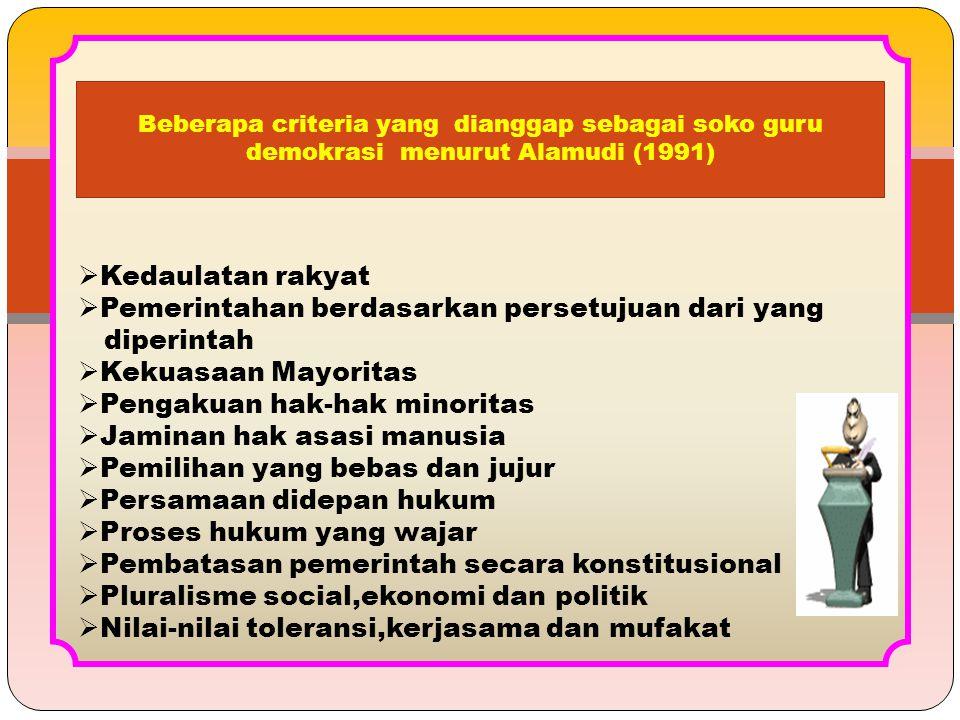  Kedaulatan rakyat  Pemerintahan berdasarkan persetujuan dari yang diperintah  Kekuasaan Mayoritas  Pengakuan hak-hak minoritas  Jaminan hak asas